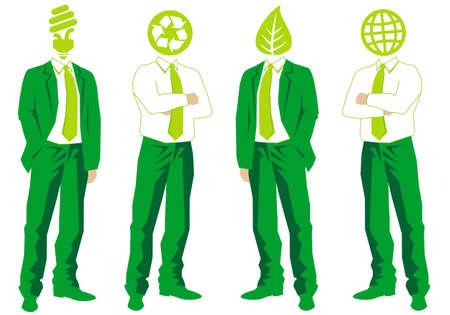 sustentabilidad: empresarios de pensamiento ecológico verde Vectores