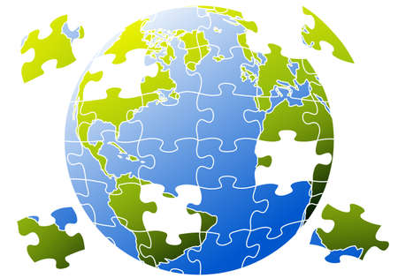 connected world: earth globe with jigsaw puzzle