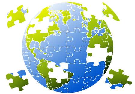 wereldbol groen: wereldbol met een puzzel Stock Illustratie