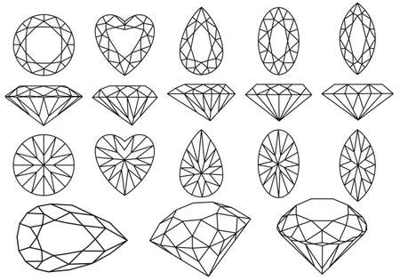 coeur diamant: ensemble de pierres précieuses diamants, illustration vectorielle Illustration