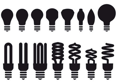 fluorescent: energy saving light bulbs, vector set