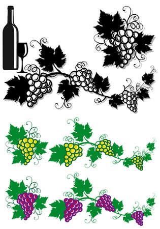 bordure vigne: feuilles de vigne et les raisins, arri�re-plan Illustration