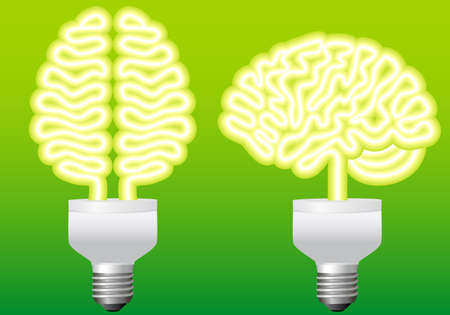 energy bulb brain, illustration Vector