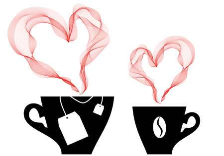 coffee and tea with heart steaming Stock Vector - 10416799