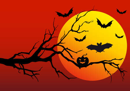halloween background with flying bats, vector illustration Stock Vector - 10433323