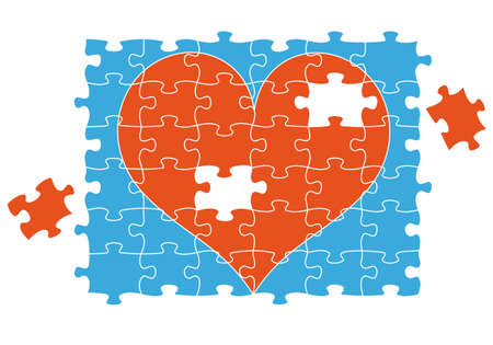 broken love: red jigsaw puzzle heart, vector illustration