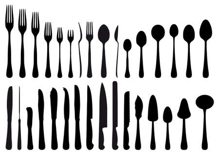 talher: cutlery and kitchen tools, vector set
