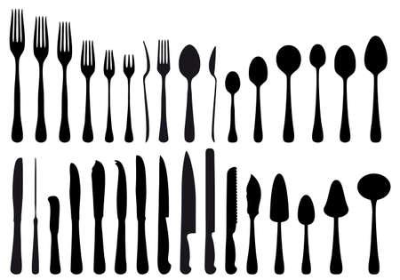 cuchillo y tenedor: herramientas de cubiertos y cocina, conjunto de vectores Vectores
