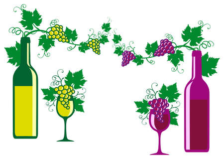 wine with grapes and leaves, vector illustration Vector