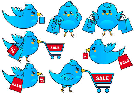 business flying: blue bird shopping, vector icon set