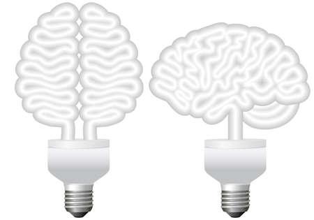 energy efficient light bulb: energy bulb brain, vector illustration