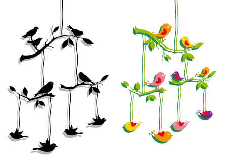 bird shadow: birds mobile with tree branch, vector illustration Illustration