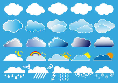 rainy season: different clouds and weather symbols, vector set Illustration
