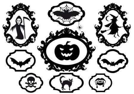 halloween set with frames, vector design elements Vector