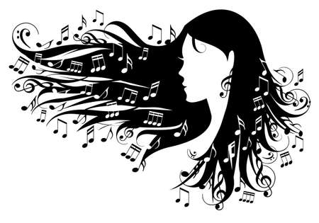 notes musicales: femme avec des notes de musique dans ses cheveux, illustration vectorielle