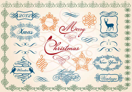 set of ornamental christmas frames, vector design elements Stock Vector - 10879196
