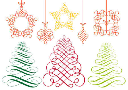 set of flourish christmas ornaments Stock Vector - 10929866