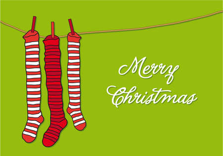 stockings: red striped christmas socks Illustration
