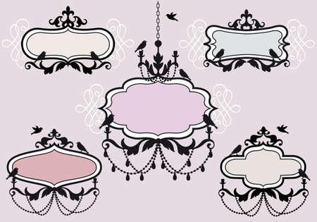 chandelier: vintage frames with birds, vector set Illustration