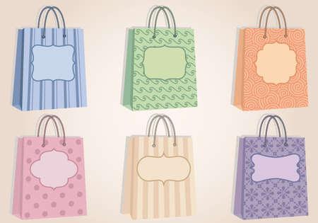 fashion shopping: bolsas de tiendas de moda con el patr�n, y las etiquetas en blanco, vector