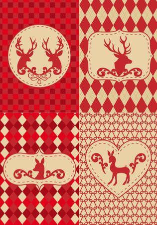оленьи рога: бесшовный фон Рождество с оленями, векторный набор