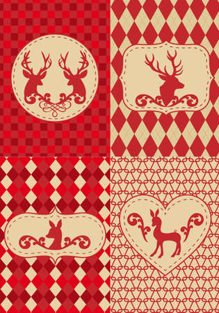 fawn: seamless christmas pattern with deers, vector set