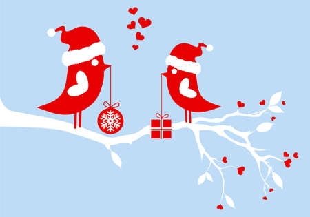 santa birds on winter tree, vector bacground Vector