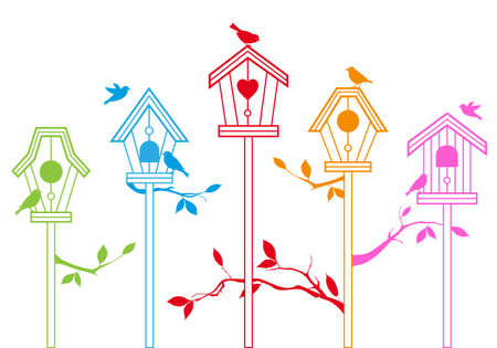 aviary: cute bird houses with branches, vector background Illustration
