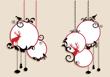hanging string: christmas balls with deer Illustration