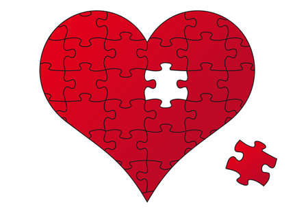 red jigsaw heart and piece, vector illustration