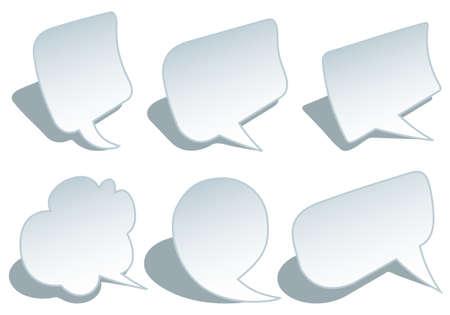 set of blank paper speech bubbbles, vector design elements Stock Vector - 11140820