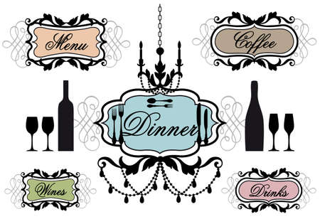 dinner party: candlelight dinner frames for restaurant, vector set