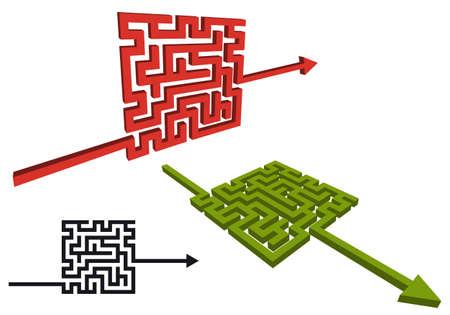 navigate: arrow sign with labirinth, vector design elements