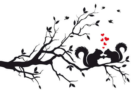 fall in love: squirrels on tree branch, vector background Illustration