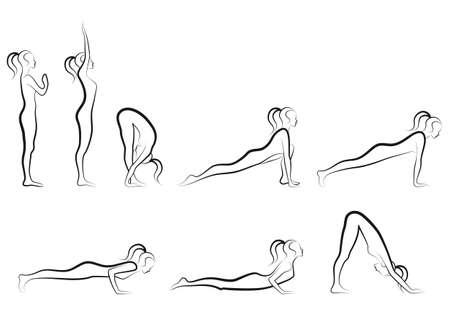 yoga meditation: insieme di sole esercizi yoga saluto, illustrazione vettoriale