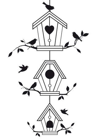 aviary: birdhouses with tree branches and birds, vector background