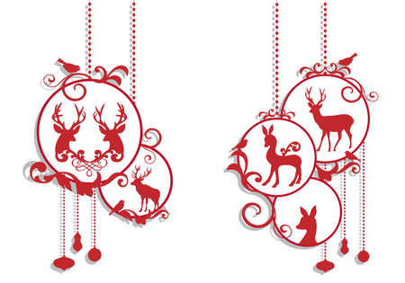 christmas scroll: christmas balls with deer decoration, vector background