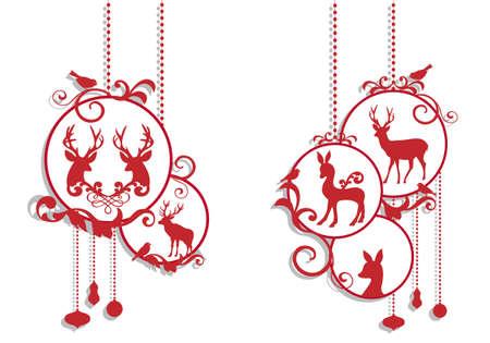 red deer: christmas balls with deer decoration, vector background