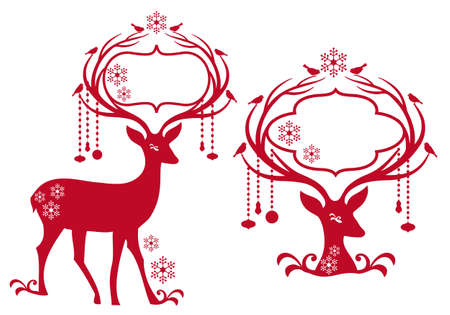 reindeer with blank christmas frame, vector background Vector