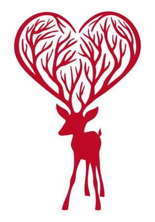 stencil art: red deer with heart antlers, vector illustration Illustration