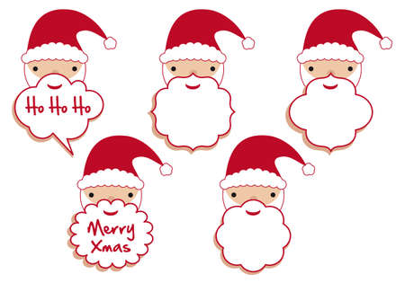set of santa beard frames, vector template Vector