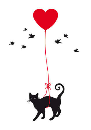 hanging toy: cat with red heart balloon, vector background