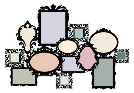 baroque room: blank multiple picture frame set, vector design element