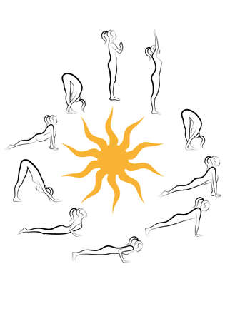 yoga sun salutation, vector set