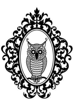 ornamental background: owl in antique picture frame, vector background