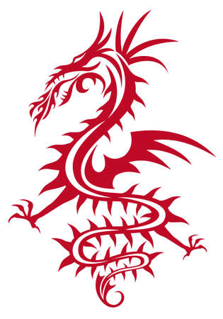 dragon tattoo design: red dragon with wing and fire flames, vector