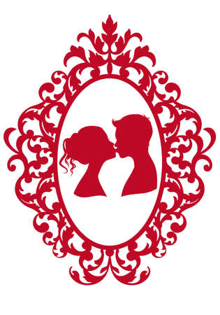 girls kissing: kissing couple in antique picture frame, vector background Illustration