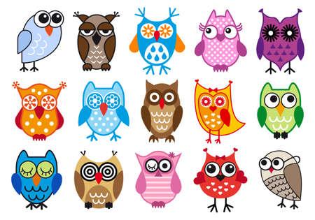 sowa: Zestaw kolorowych sowy, ilustracji wektorowych
