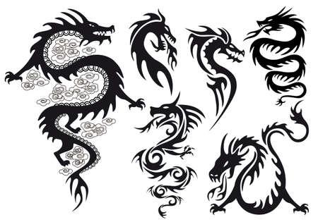 dragon tribal: tatouages ??dragons avec des flammes