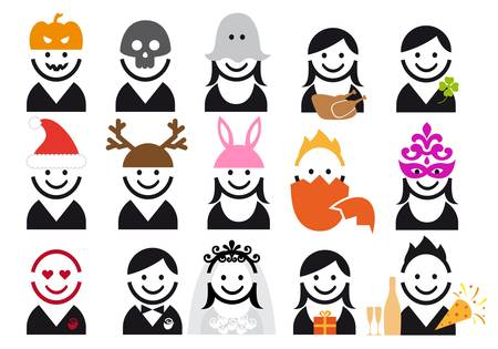 holiday and celebration people, vector icon set Vector